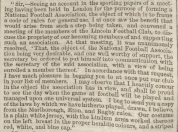 1863 Lincoln FC letter