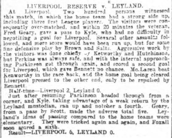 LFC Reserves v Leyland 1899