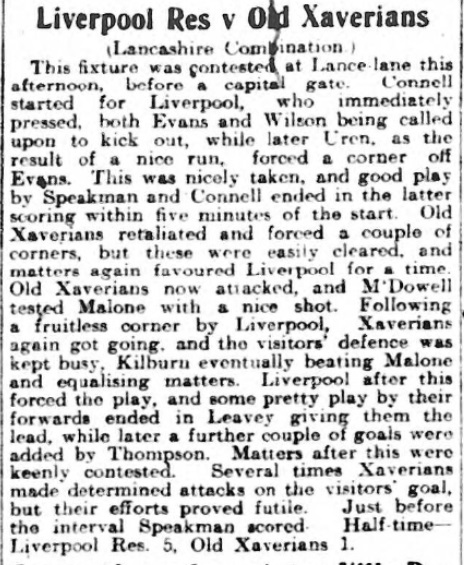 1910 LFC Res v Xaverians