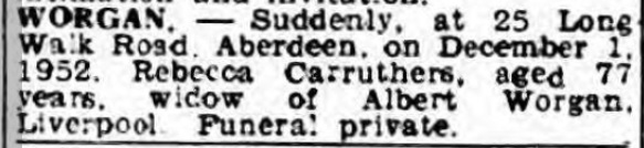 Worgan Aberdeen Evening Express 1 dec 1952