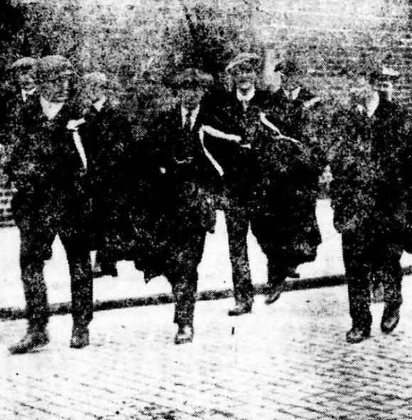 Burnley supporters in Liverpool in 1914.