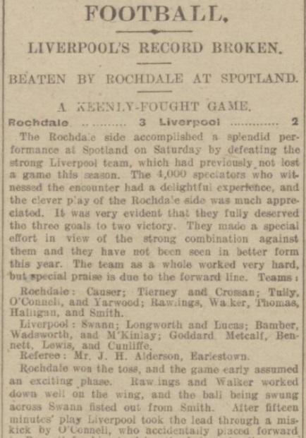 Match report, Rochdale v Liverpool, December 1916