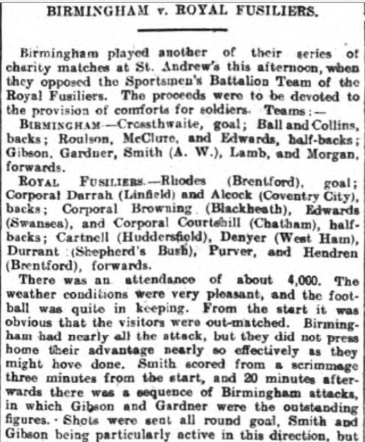 1916 Birmingham v Fusiliers 1