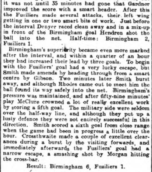 1916 Birmingham v Fusiliers 2