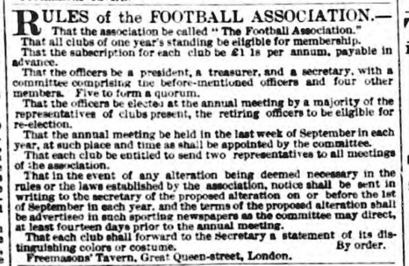FA rules 1863