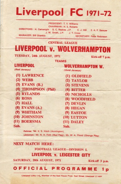 LFC Reserves 1971 Wolves H
