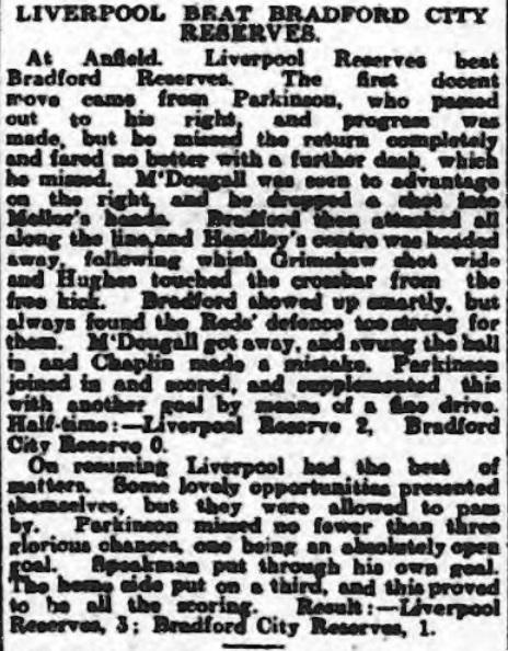 1914 LFC Res v Bradford City Res