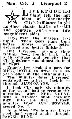 1969 MCFC v LFC League cup 1