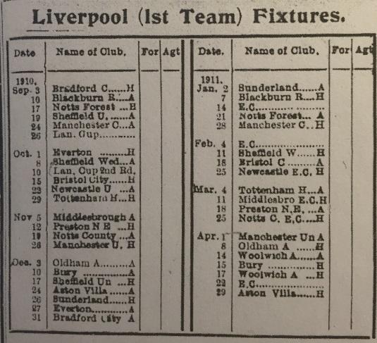 1910 LFC fixture card
