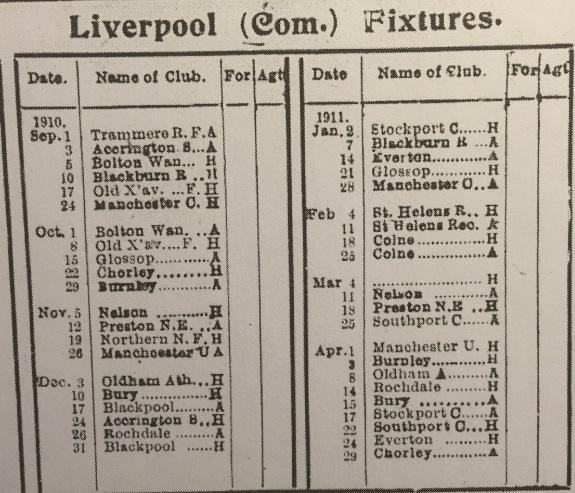 1910 LFC Reserves fixtures