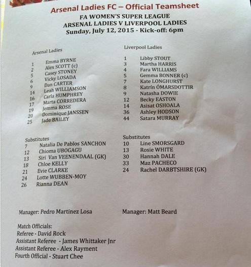 2015 Arsenal Ladies v LFC Ladies