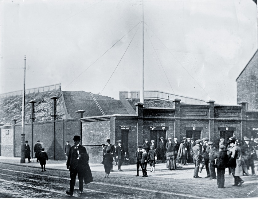 LIVERPOOL. ENGLAND. c1912. Anfield stadium, flag pole corner- Walton Breck Road and Kemlyn Road, with the original unroofed 'Spion Kop' stand in foreground. The flagpole (still in same place today) is a 'top mast' from Brunel's SS Great Eastern.