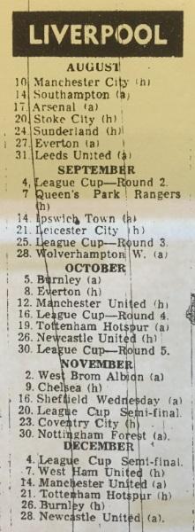 1968 fixture card 69 9 1