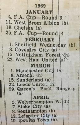 1968 fixture card 69 9 2