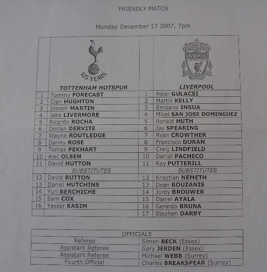 2007 Spurs Res v LFC Res friendly