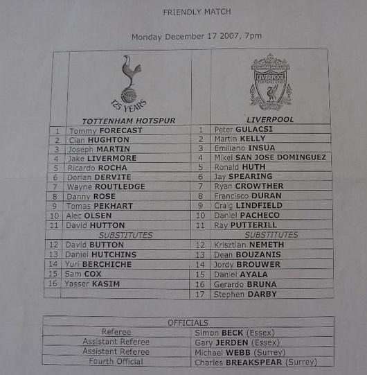 2007 Spurs Res v LFC Res friendly