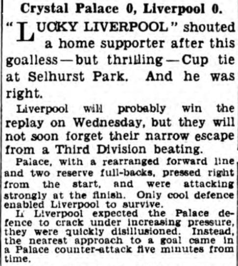1938 Crystal Palace v Liverpool Daily Express 1