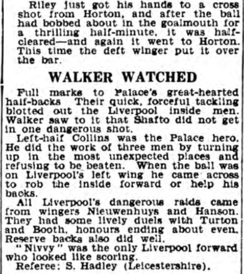 1938 Crystal Palace v Liverpool Daily Express 2
