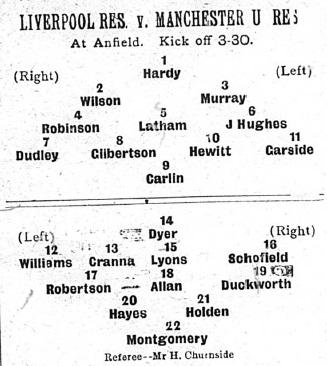 1905 LFC Res v MUFC Res match sheet
