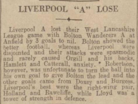 1939 Liverpool A v Bolton A