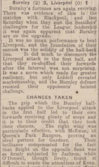 1942 Burnley v Liverpool match report 1