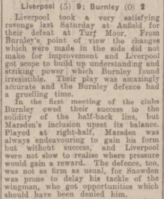 1942 Liverpool v Burnley match report 1