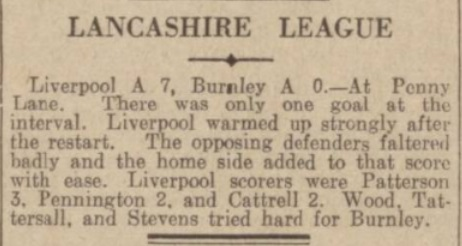 1939 LFC A v Burnley A match report 1