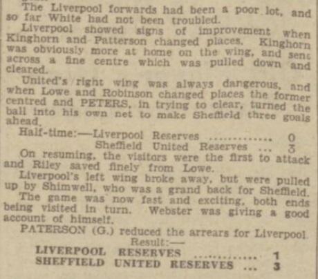 1939 LFC Reserves v Sheff Utd Res 2