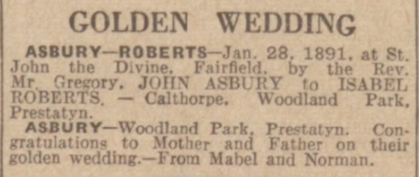 1941 Asbury golden wedding