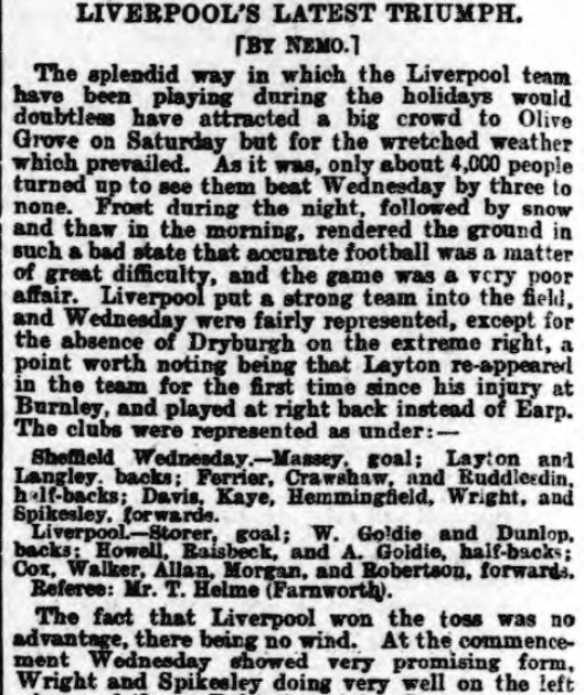1898 SWFC v LFC Athletic News 1