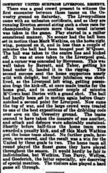 1899 Oswestry v LFC Reserves 1