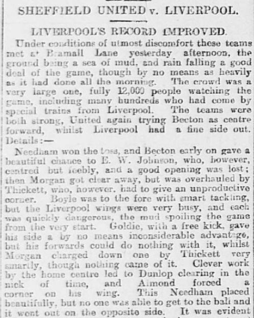 1899 SUFC v LFC Sheffield Daily Telegraph 1