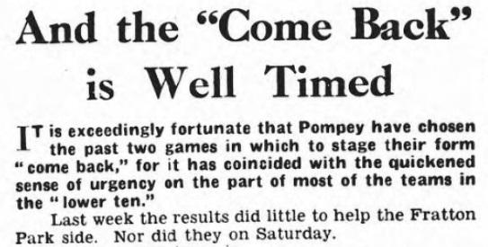 1953 Pompey v LFC Pompey evening news 2