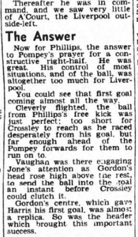 1953 Pompey v LFC Pompey evening news 6