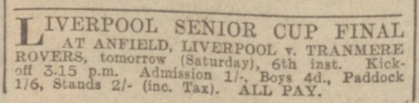 1939 ad LFC v Tranmere Rovers Liverpool Cup final