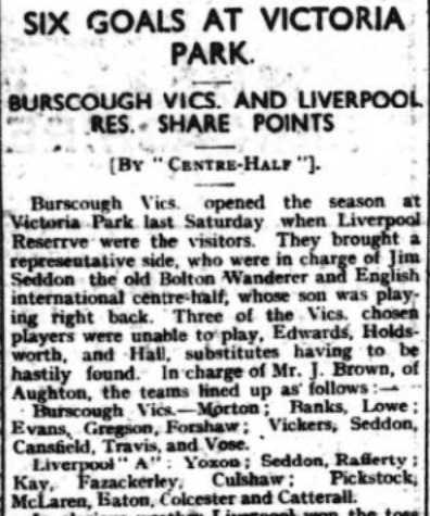1940 Burscough Vics v LFC A 1