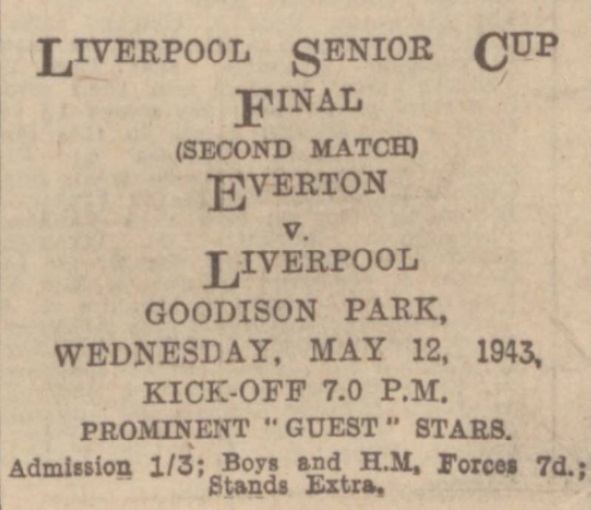 1943 Liverpool Senior Cup advertisement