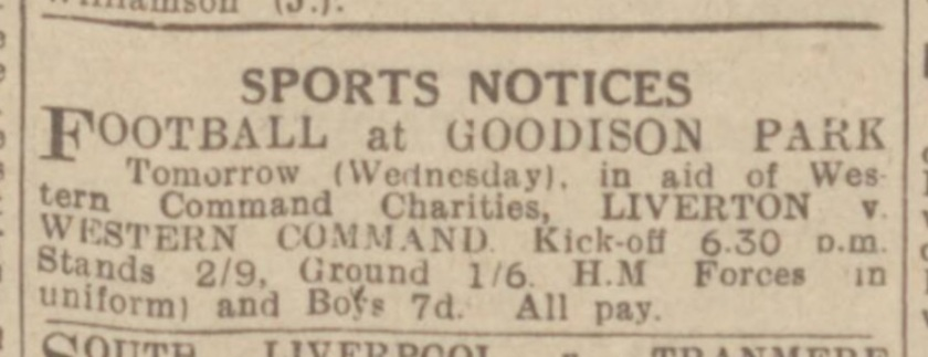 1945 Western Command match Goodison Park May