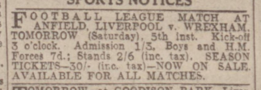 1942 ad LFC v Wrexham August