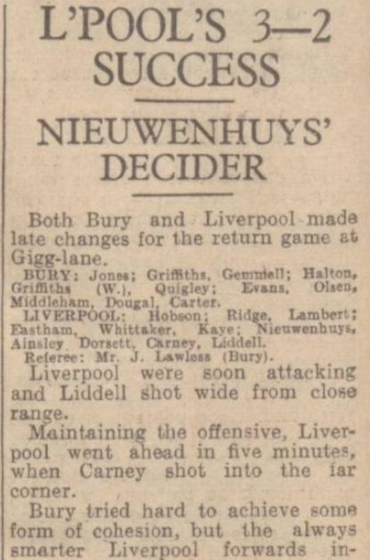 1942 Bury v LFC January 1