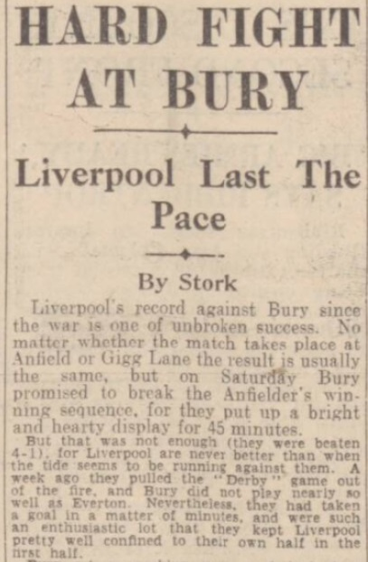 1942 Bury v Liverpool Daily Post September 1