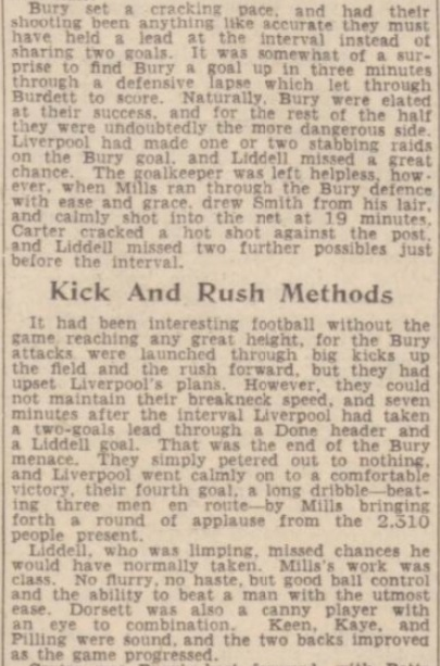 1942 Bury v Liverpool Daily Post September 2