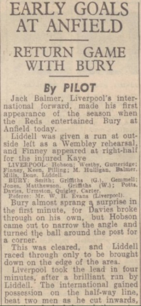 1942 Liverpool v Bury October Express 1