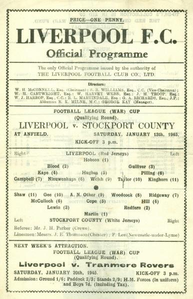 1945 LFC v Stockport WCQ