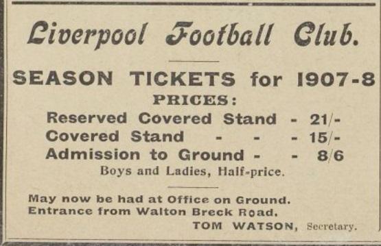 Season tickets 1907 1908