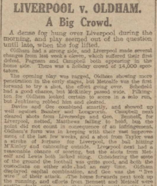 1917 Liverpool v Oldham Athletic Manchester Evening News 1