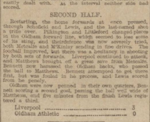 1917 Liverpool v Oldham Athletic Manchester Evening News 2