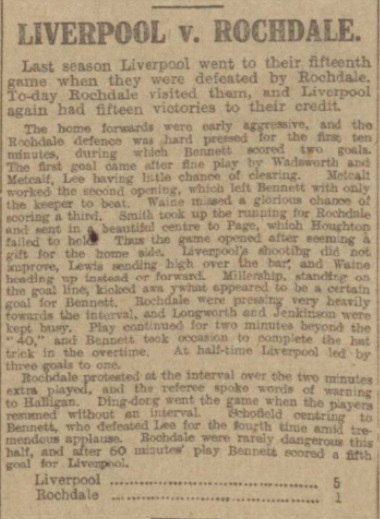 1917 Liverpool v Rochdale Manchester Evening News 1