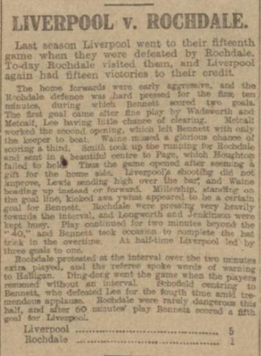 1917 Liverpool v Rochdale Manchester Evening News 1
