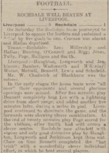 1917 Liverpool v Rochdale Rochdale Observer 1